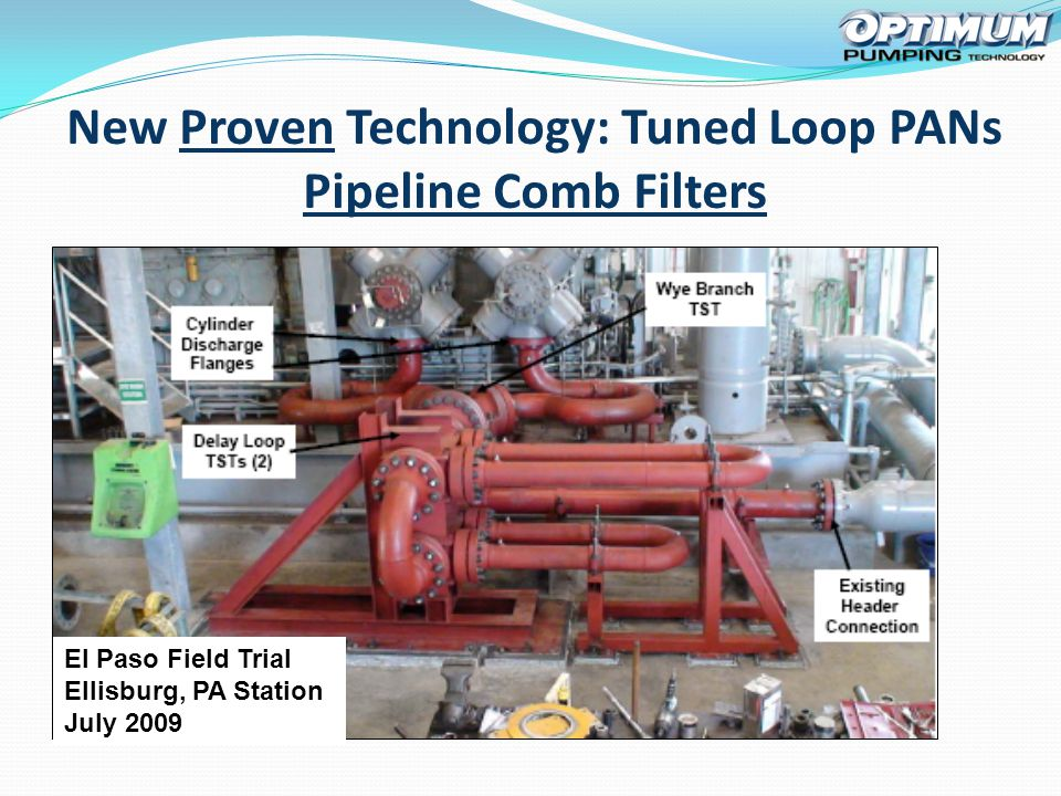 El Paso Field Trial Ellisburg, PA Station July 2009 New Proven Technology: Tuned Loop PANs Pipeline Comb Filters