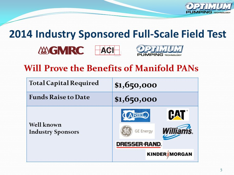 2014 Industry Sponsored Full-Scale Field Test 5 Total Capital Required $1,650,000 Funds Raise to Date $1,650,000 Well known Industry Sponsors Will Prove the Benefits of Manifold PANs