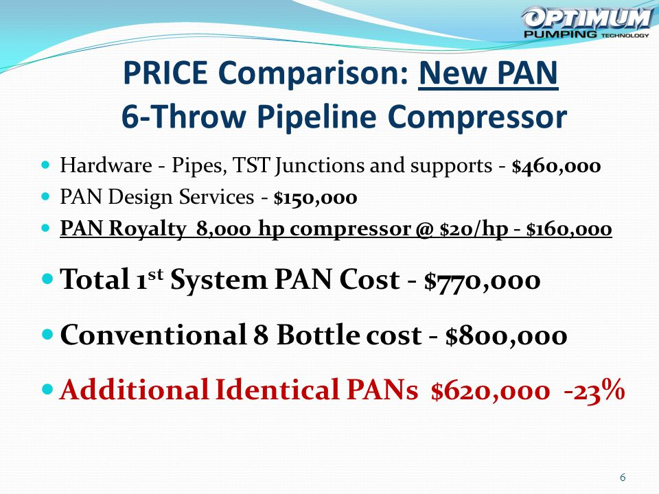 Hardware - Pipes, TST Junctions and supports - $460,000 PAN Design Services - $150,000 PAN Royalty 8,000 hp compressor @ $20/hp - $160,000 Total 1 st System PAN Cost - $770,000 Conventional 8 Bottle cost - $800,000 Additional Identical PANs $620,000 -23% 6 PRICE Comparison: New PAN 6-Throw Pipeline Compressor