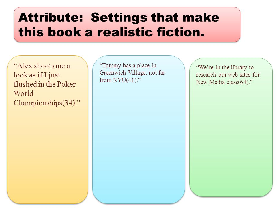 Attribute: Settings that make this book a realistic fiction.