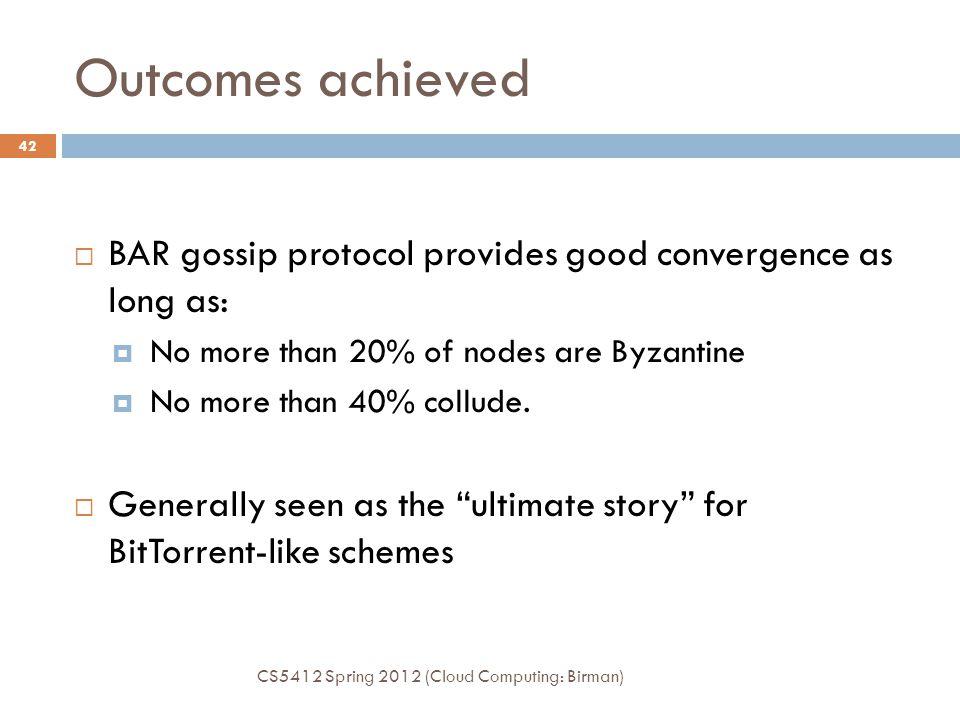 Outcomes achieved CS5412 Spring 2012 (Cloud Computing: Birman) 42  BAR gossip protocol provides good convergence as long as:  No more than 20% of no