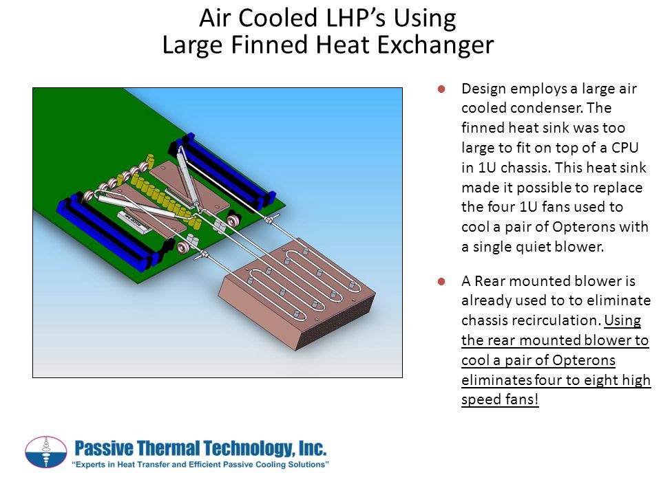Design employs a large air cooled condenser. The finned heat sink was too large to fit on top of a CPU in 1U chassis. This heat sink made it possible