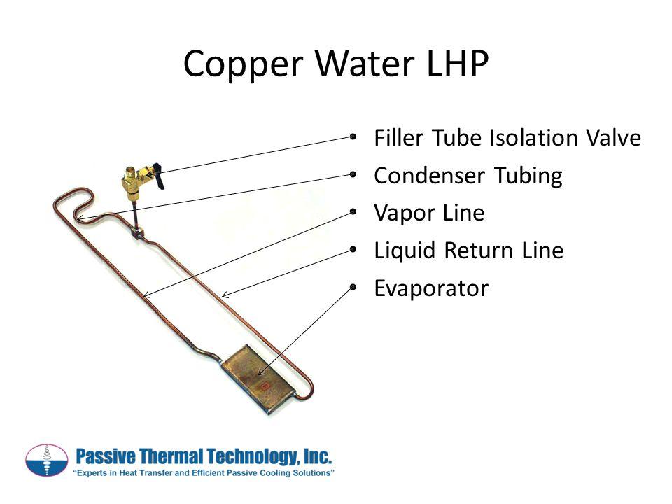 Copper Water LHP Filler Tube Isolation Valve Condenser Tubing Vapor Line Liquid Return Line Evaporator