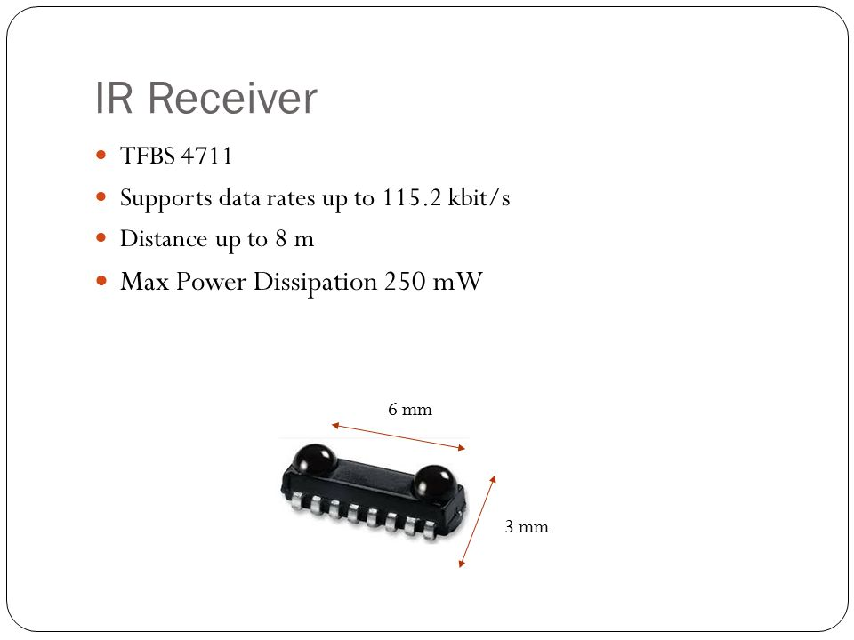 TFBS 4711 Supports data rates up to 115.2 kbit/s Distance up to 8 m Max Power Dissipation 250 mW 6 mm 3 mm