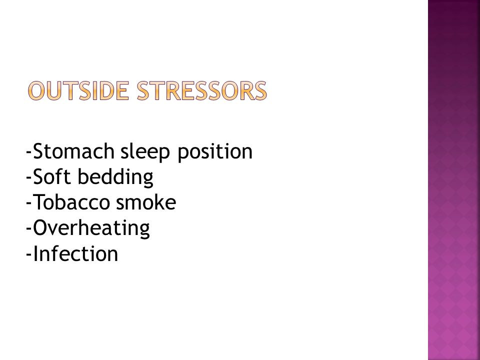 -Stomach sleep position -Soft bedding -Tobacco smoke -Overheating -Infection