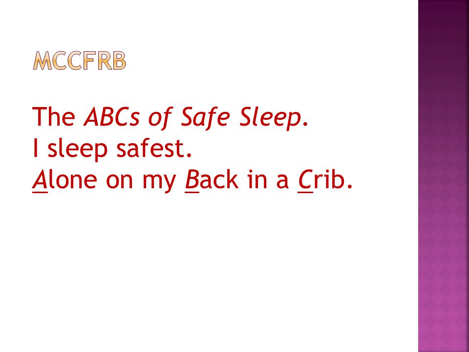 The ABCs of Safe Sleep. I sleep safest. Alone on my Back in a Crib.