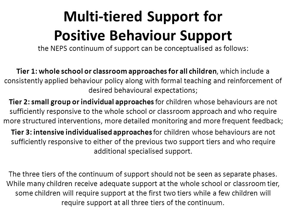Multi-tiered Support for Positive Behaviour Support the NEPS continuum of support can be conceptualised as follows: Tier 1: whole school or classroom