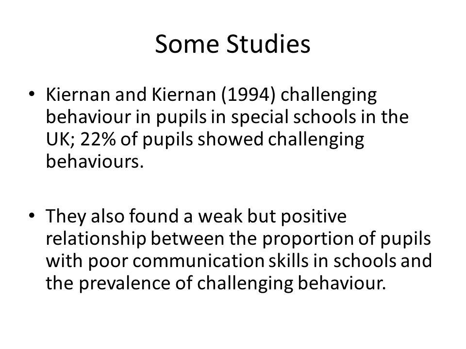Some Studies Kiernan and Kiernan (1994) challenging behaviour in pupils in special schools in the UK; 22% of pupils showed challenging behaviours. The