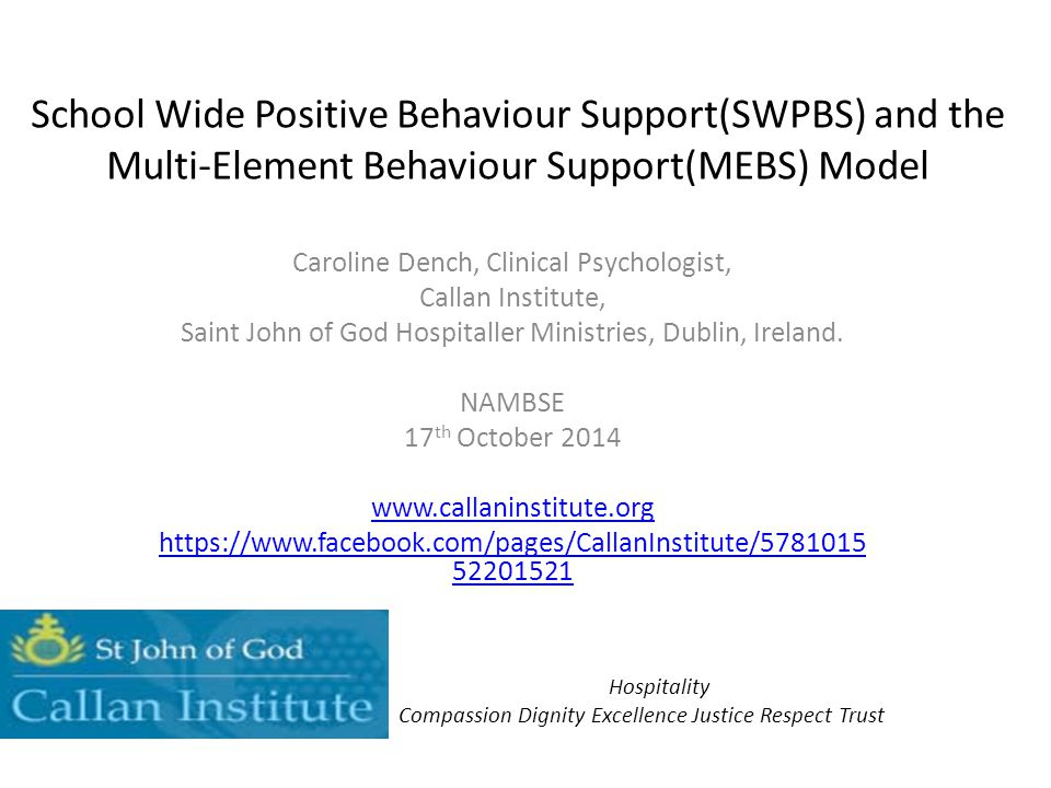 School Wide Positive Behaviour Support(SWPBS) and the Multi-Element Behaviour Support(MEBS) Model Caroline Dench, Clinical Psychologist, Callan Instit