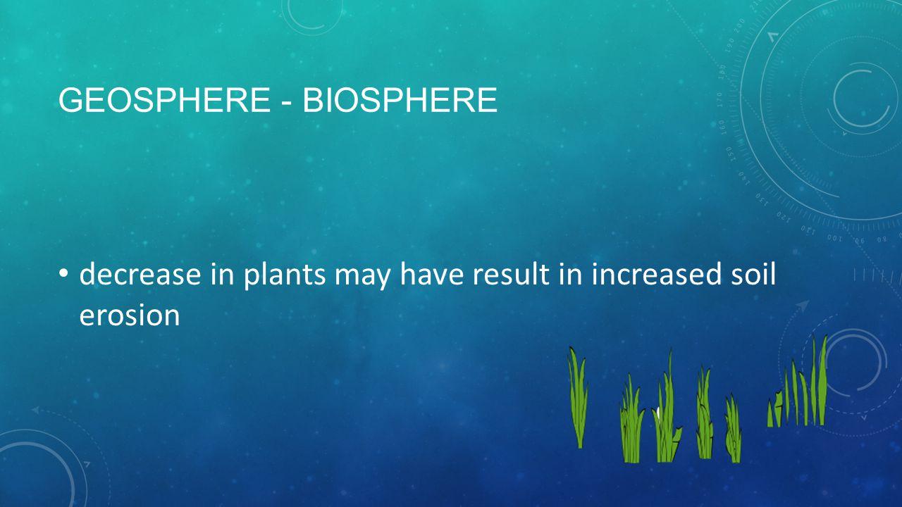 GEOSPHERE - BIOSPHERE decrease in plants may have result in increased soil erosion
