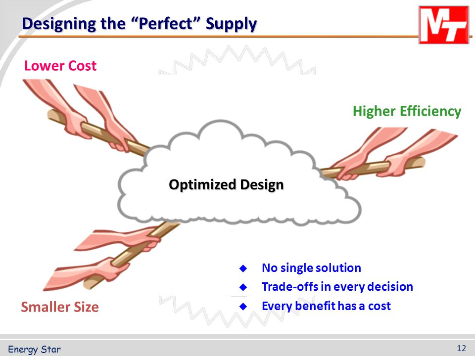 """Designing the """"Perfect"""" Supply Lower Cost Smaller Size Higher Efficiency Optimized Design  No single solution  Trade-offs in every decision  Every"""