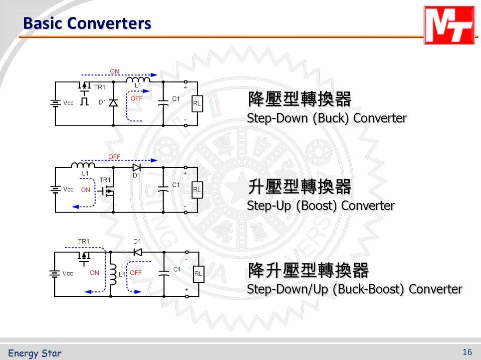 Basic Converters 降壓型轉換器 Step-Down (Buck) Converter 升壓型轉換器 Step-Up (Boost) Converter 降升壓型轉換器 Step-Down/Up (Buck-Boost) Converter 16 Energy Star