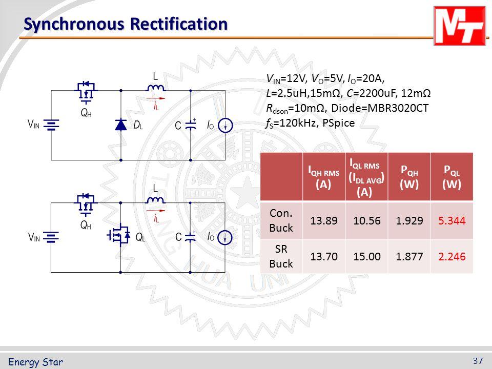 Synchronous Rectification V IN =12V, V O =5V, I O =20A, L=2.5uH,15mΩ, C=2200uF, 12mΩ R dson =10mΩ, Diode=MBR3020CT f S =120kHz, PSpice 37 Energy Star