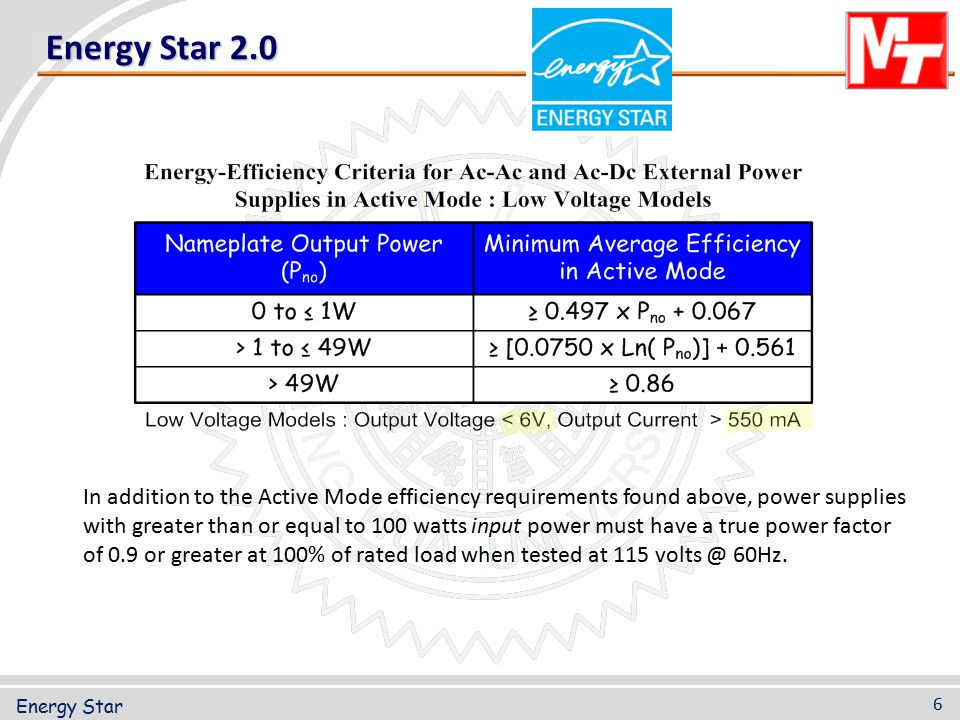 Energy Star 2.0 In addition to the Active Mode efficiency requirements found above, power supplies with greater than or equal to 100 watts input power