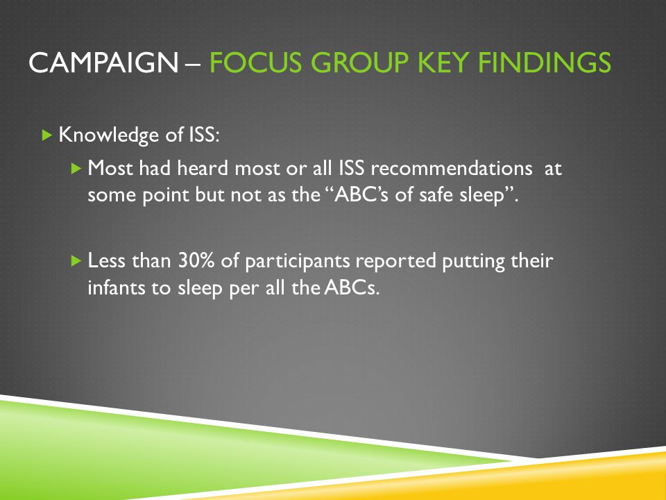 "CAMPAIGN – FOCUS GROUP KEY FINDINGS  Knowledge of ISS:  Most had heard most or all ISS recommendations at some point but not as the ""ABC's of safe s"