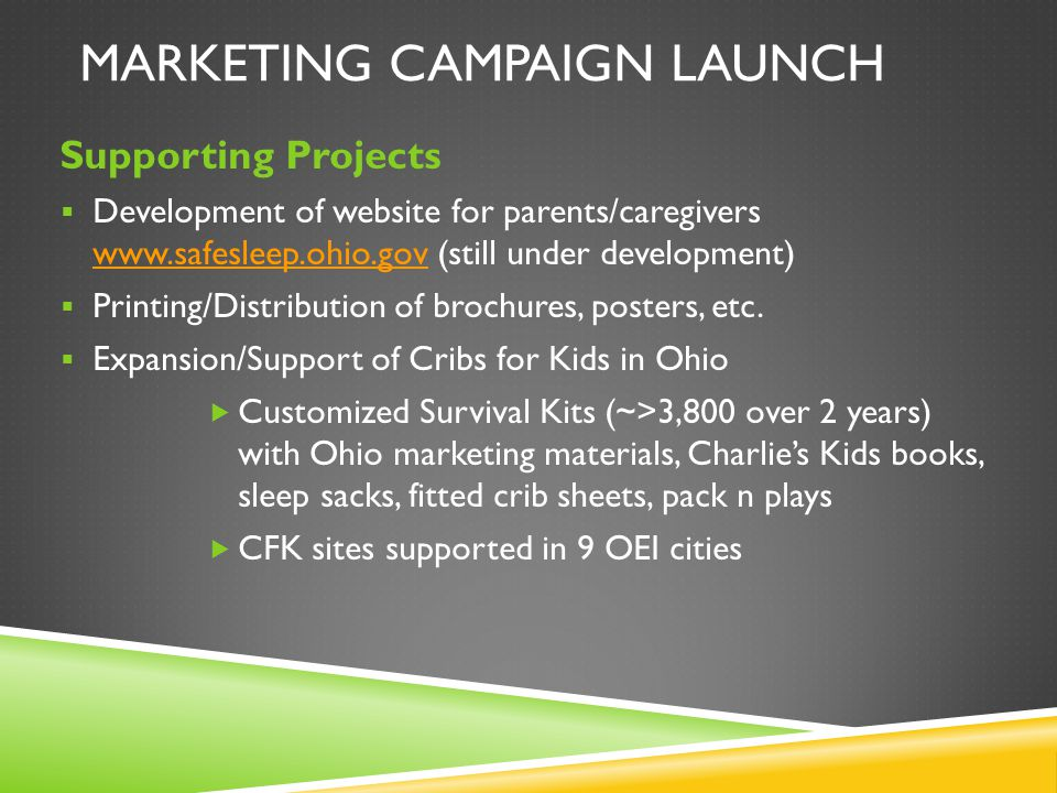 MARKETING CAMPAIGN LAUNCH Supporting Projects  Development of website for parents/caregivers www.safesleep.ohio.gov (still under development) www.saf