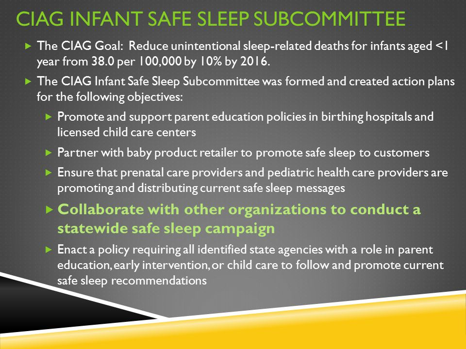CIAG INFANT SAFE SLEEP SUBCOMMITTEE  The CIAG Goal: Reduce unintentional sleep-related deaths for infants aged <1 year from 38.0 per 100,000 by 10% b
