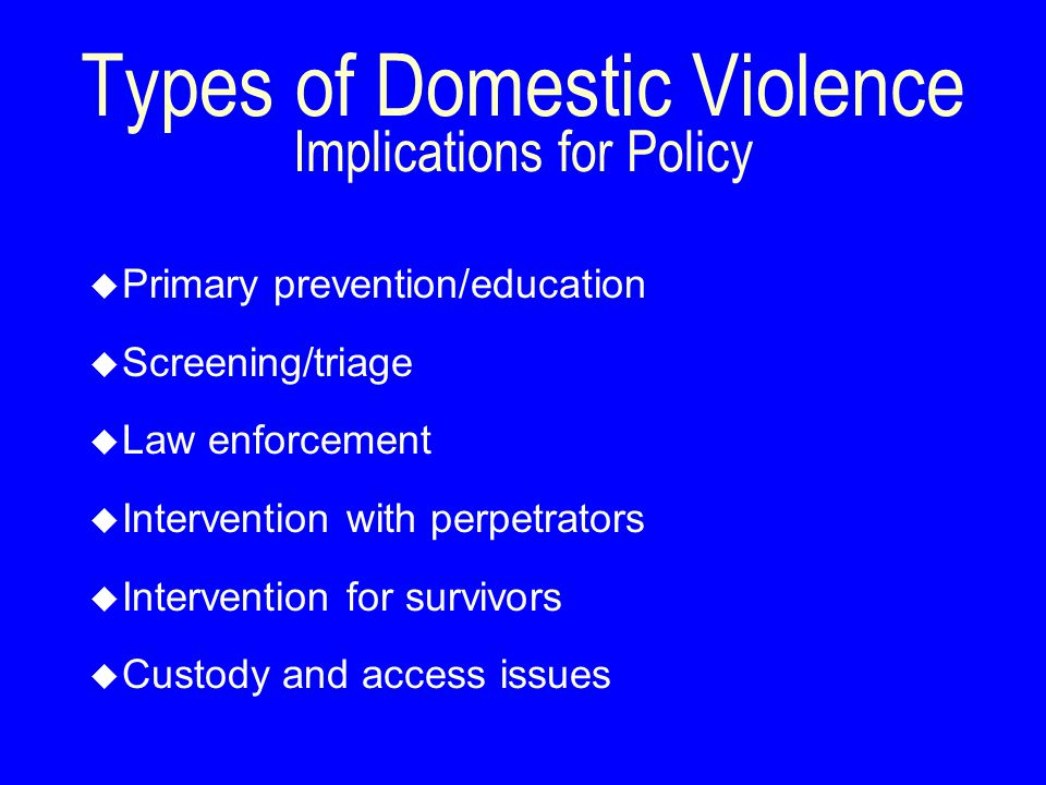 u Primary prevention/education u Screening/triage u Law enforcement u Intervention with perpetrators u Intervention for survivors u Custody and access issues Types of Domestic Violence Implications for Policy