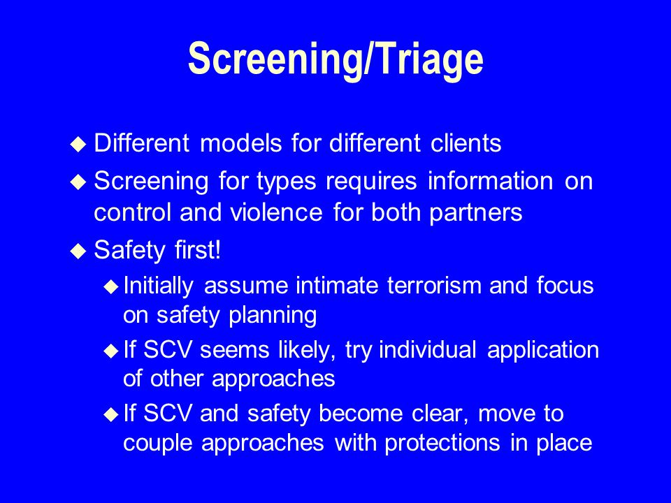 Screening/Triage u Different models for different clients u Screening for types requires information on control and violence for both partners u Safety first.
