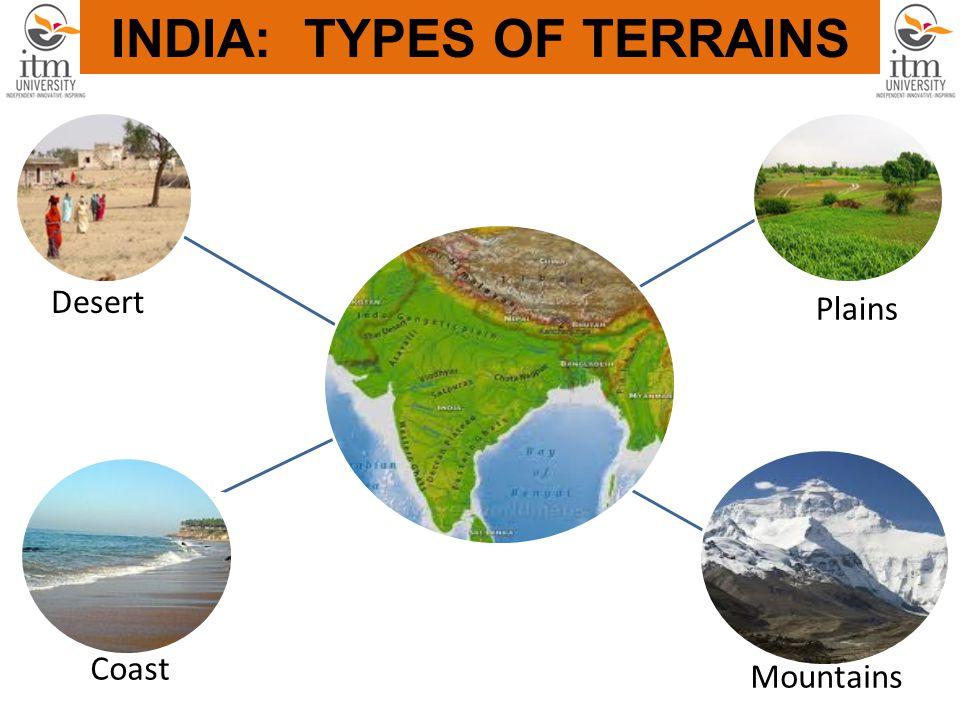 INDIA Plains Desert Coast Mountains INDIA: TYPES OF TERRAINS