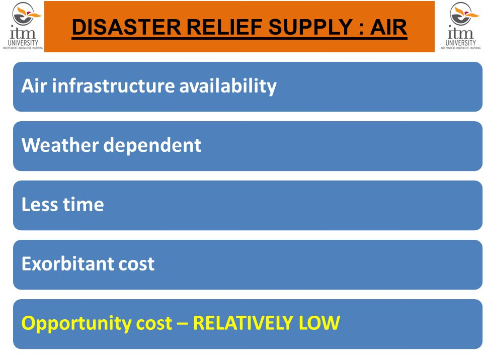 DISASTER RELIEF SUPPLY : AIR Air infrastructure availabilityWeather dependentLess timeExorbitant costOpportunity cost – RELATIVELY LOW