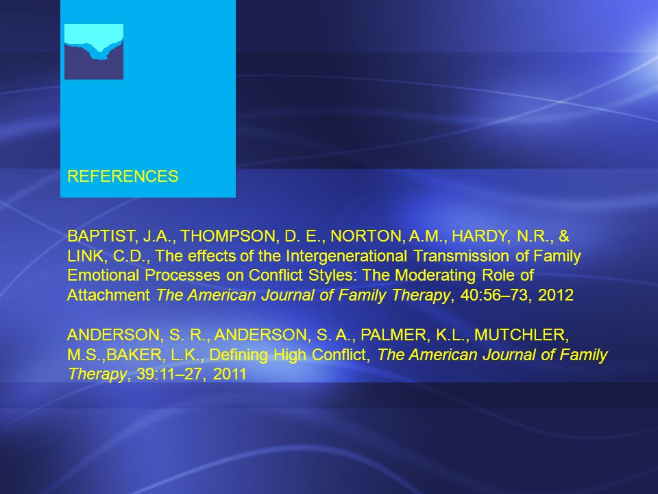 REFERENCES BAPTIST, J.A., THOMPSON, D.