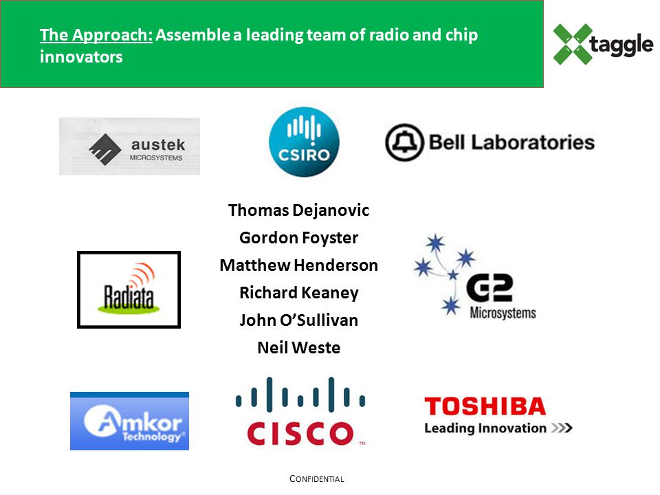 C ONFIDENTIAL The Approach: Assemble a leading team of radio and chip innovators Thomas Dejanovic Gordon Foyster Matthew Henderson Richard Keaney John O'Sullivan Neil Weste