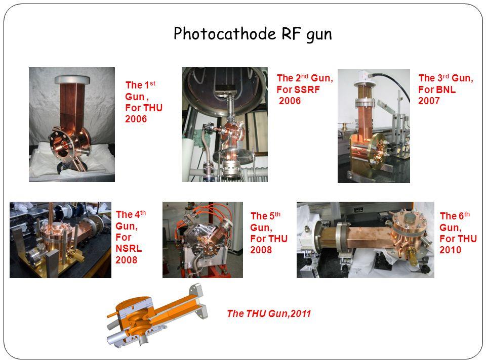 Photocathode RF gun The 1 st Gun, For THU 2006 The 2 nd Gun, For SSRF 2006 The 3 rd Gun, For BNL 2007 The 4 th Gun, For NSRL 2008 The 5 th Gun, For THU 2008 The 6 th Gun, For THU 2010 The THU Gun,2011