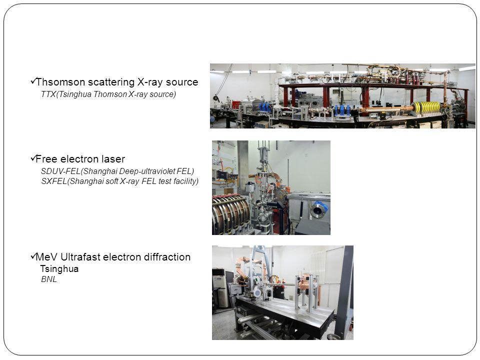 Thsomson scattering X-ray source TTX(Tsinghua Thomson X-ray source) Free electron laser SDUV-FEL(Shanghai Deep-ultraviolet FEL) SXFEL(Shanghai soft X-ray FEL test facility) MeV Ultrafast electron diffraction Tsinghua BNL