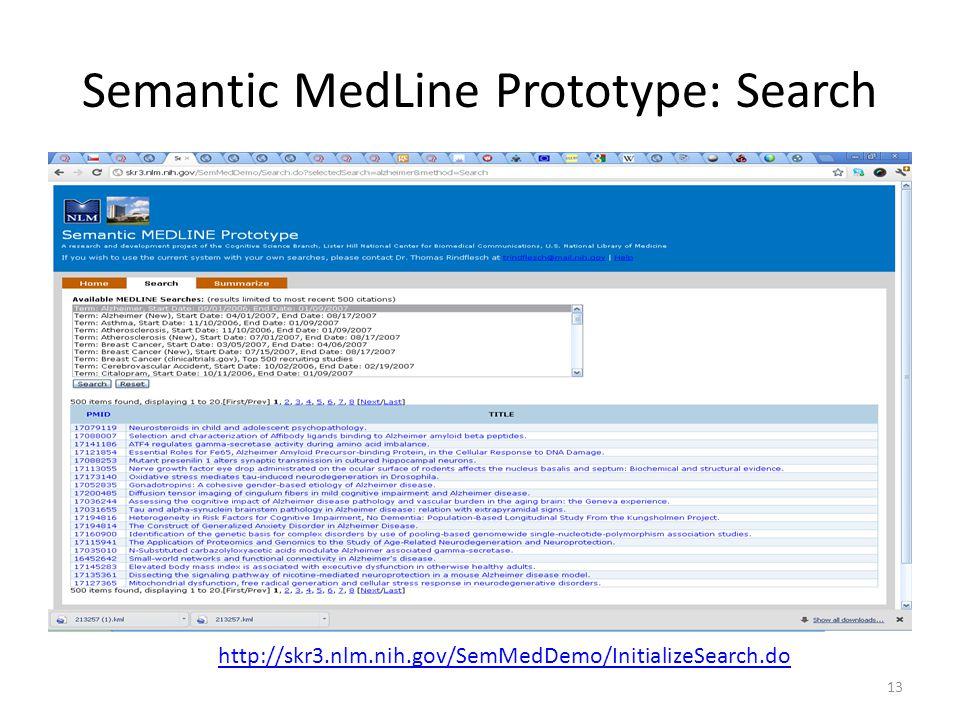 Semantic MedLine Prototype: Search 13 http://skr3.nlm.nih.gov/SemMedDemo/InitializeSearch.do
