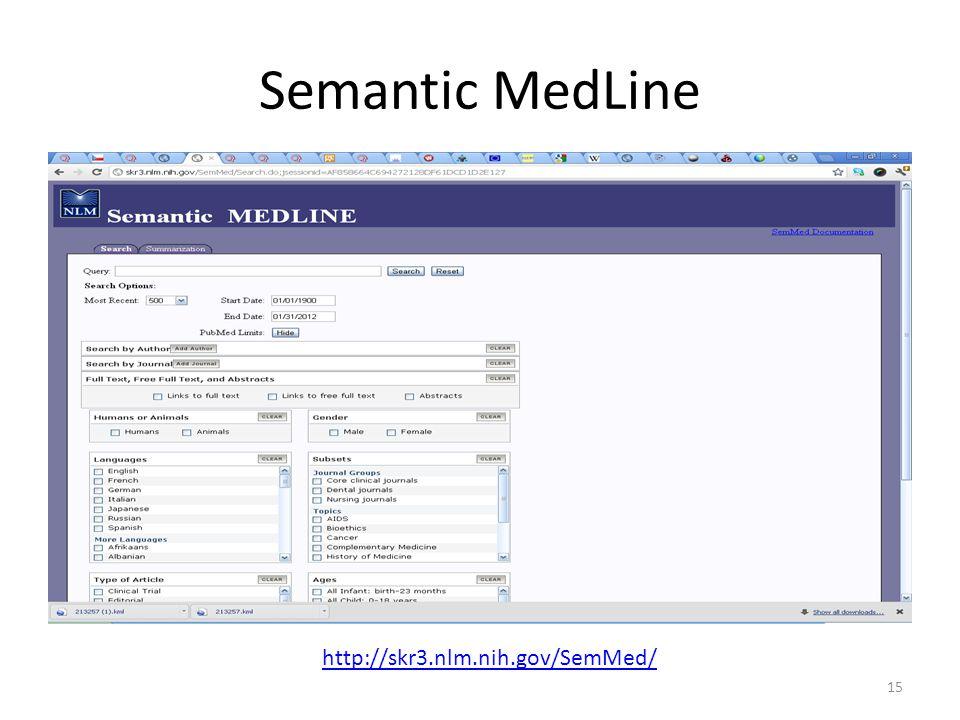Semantic MedLine 15 http://skr3.nlm.nih.gov/SemMed/