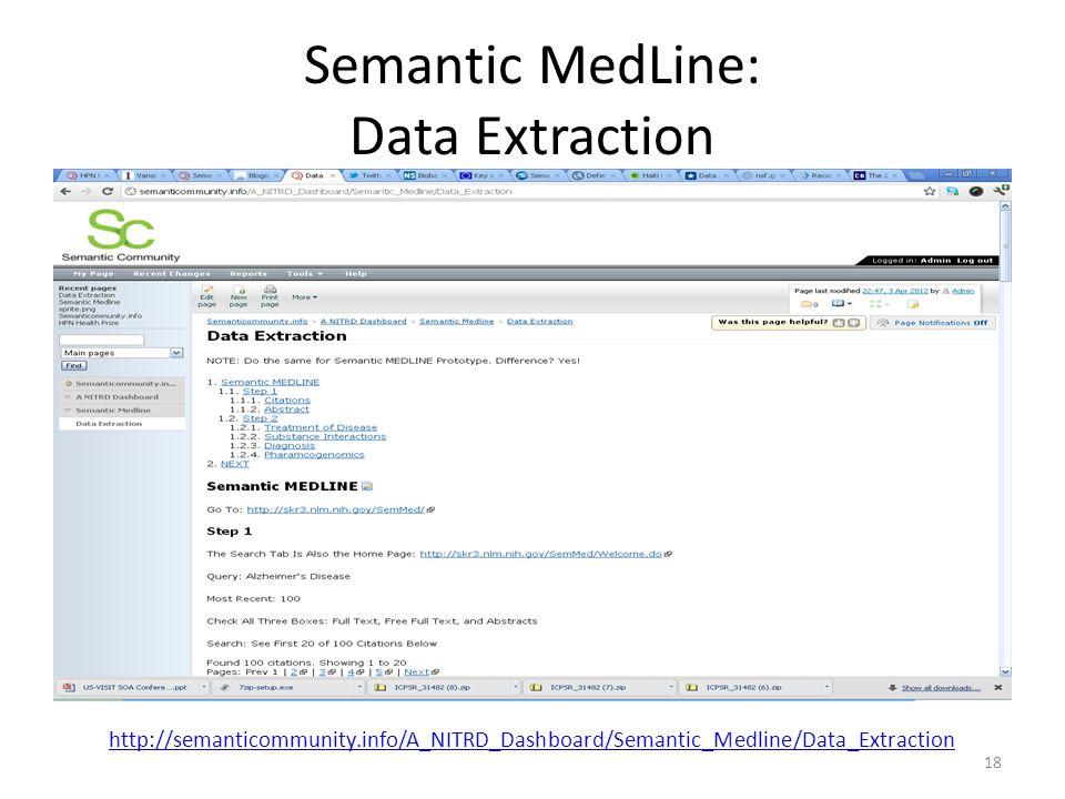 Semantic MedLine: Data Extraction 18 http://semanticommunity.info/A_NITRD_Dashboard/Semantic_Medline/Data_Extraction