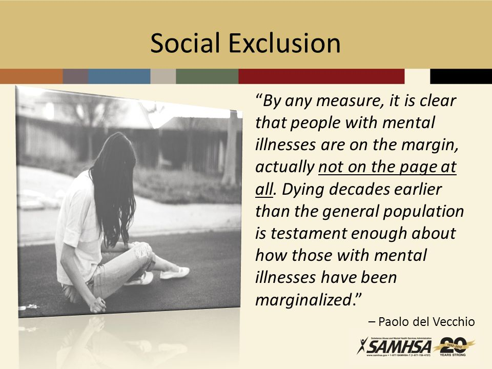 Social Exclusion By any measure, it is clear that people with mental illnesses are on the margin, actually not on the page at all.