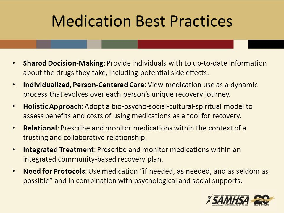 Medication Best Practices Shared Decision-Making: Provide individuals with to up-to-date information about the drugs they take, including potential side effects.