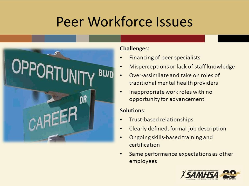 Peer Workforce Issues Challenges: Financing of peer specialists Misperceptions or lack of staff knowledge Over-assimilate and take on roles of traditional mental health providers Inappropriate work roles with no opportunity for advancement Solutions: Trust-based relationships Clearly defined, formal job description Ongoing skills-based training and certification Same performance expectations as other employees