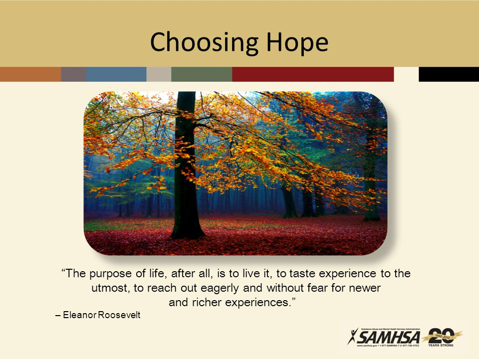 Choosing Hope The purpose of life, after all, is to live it, to taste experience to the utmost, to reach out eagerly and without fear for newer and richer experiences. – Eleanor Roosevelt