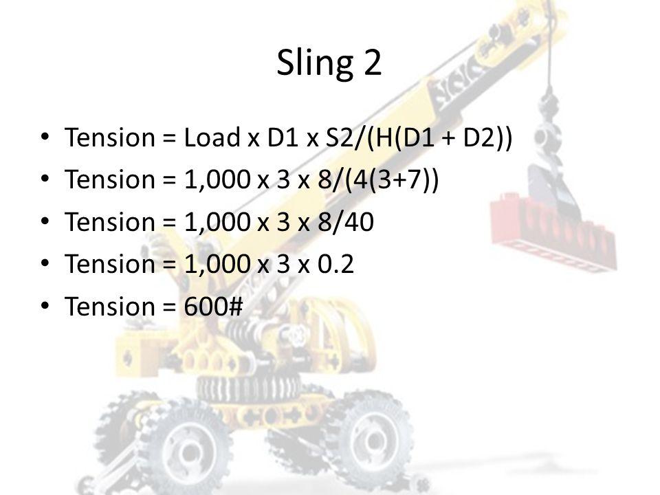 Sling 1 Tension = Load x D2 x S1/(H(D1 + D2)) Tension = 1,000 x 7 x 5/(4(3+7)) Tension = 1,000 x 7 x 5/40 Tension = 1,000 x 7 x 0.125 Tension = 875#