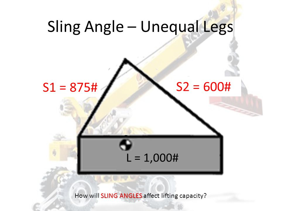 Sling 2 Tension = Load x D1 x S2/(H(D1 + D2)) Tension = 1,000 x 3 x 8/(4(3+7)) Tension = 1,000 x 3 x 8/40 Tension = 1,000 x 3 x 0.2 Tension = 600#