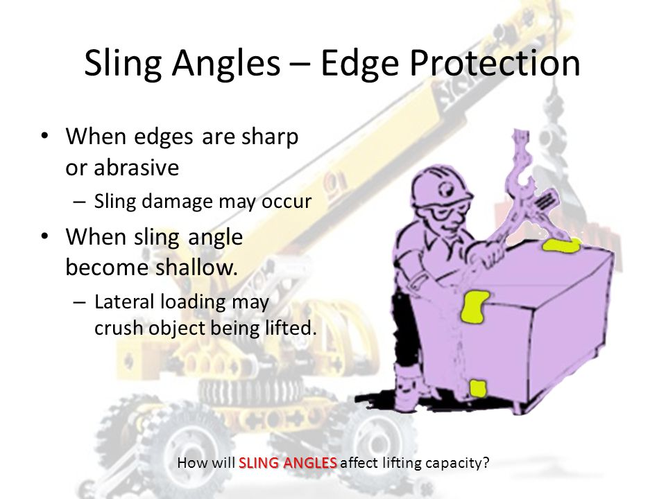 Double Wrap Choker Hitches EXCELLENT LOAD CONTROL FOR LOOSE MATERIALS AND GRIP ON SMOOTH SURFACES 75-80% OF SINGLE LEG CAPACITY ANGLE OF CHOKE MUST BE GREATER THAN 120 DEGREES SLING WRAP MUST LAY SIDE BY SIDE DO NOT OVERLAP AT BOTTOM OF LOAD SLING ANGLES How will SLING ANGLES affect lifting capacity?