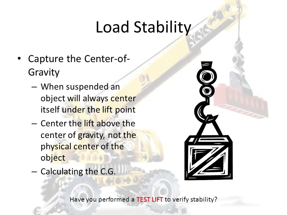 LOAD STABILITY HOISTSAFE TEST LIFT Have you performed a TEST LIFT to verify stability?