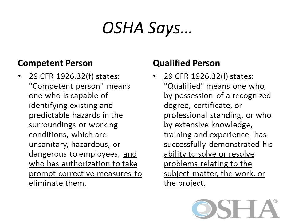 OSHA Says… The term