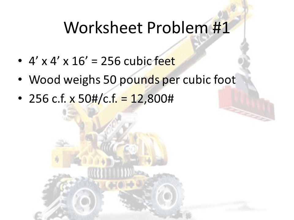 Worksheet Problem #1 1. 800# 2. 2,400# 3. 4,800# 4. 12,800#