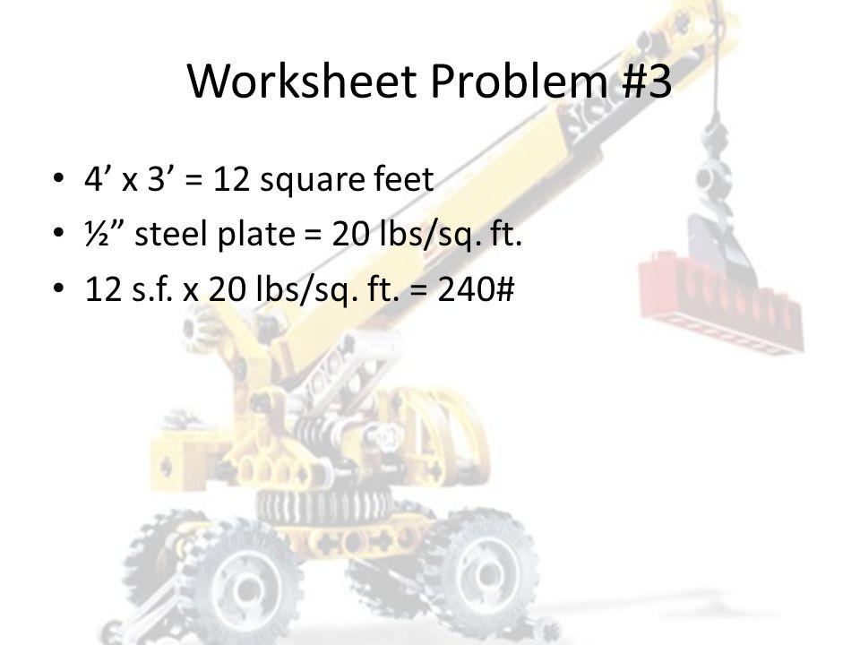 Worksheet Problem #3 1. 120# 2. 140# 3. 240# 4. 480#
