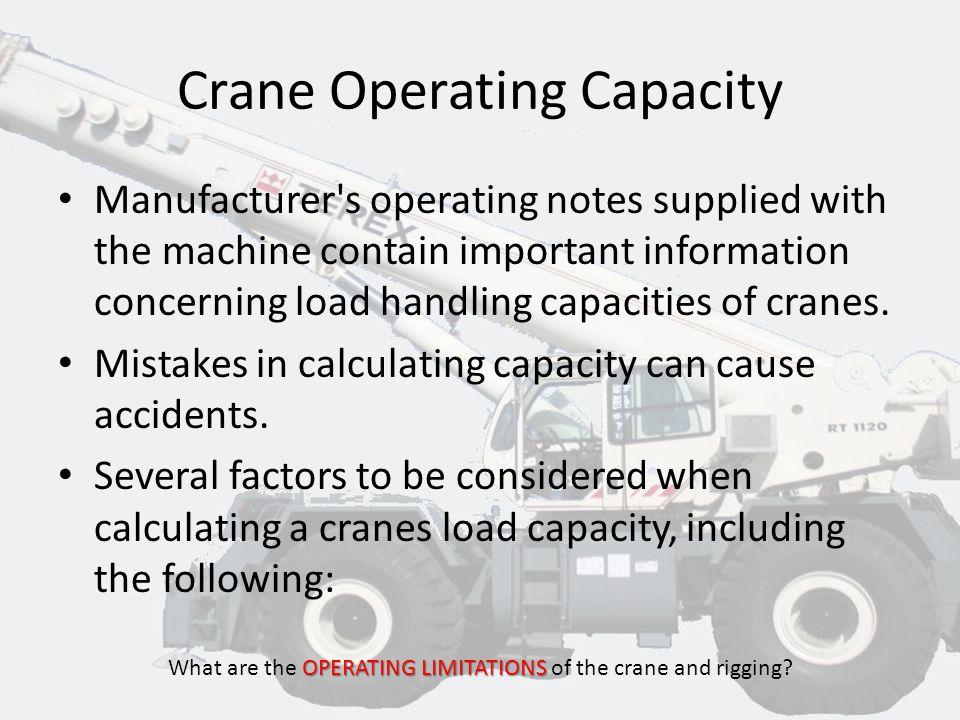 CRANE OPERATING CAPACITY HOISTSAFE OPERATING LIMITATIONS What are the OPERATING LIMITATIONS of the crane and rigging?