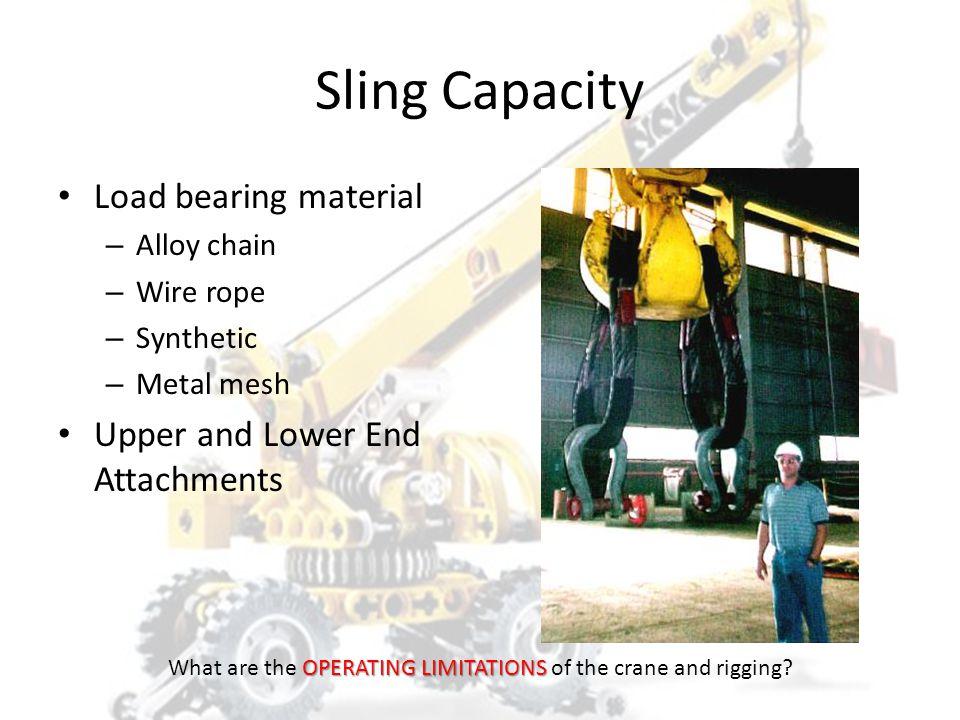 SLING CAPACITY HOISTSAFE OPERATING LIMITATIONS What are the OPERATING LIMITATIONS of the crane and rigging?