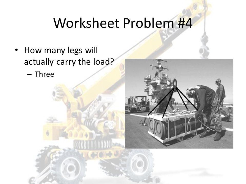 Worksheet Problem #4 1. 1,700# 2. 2,268# 3. 2,266# 4. 567#