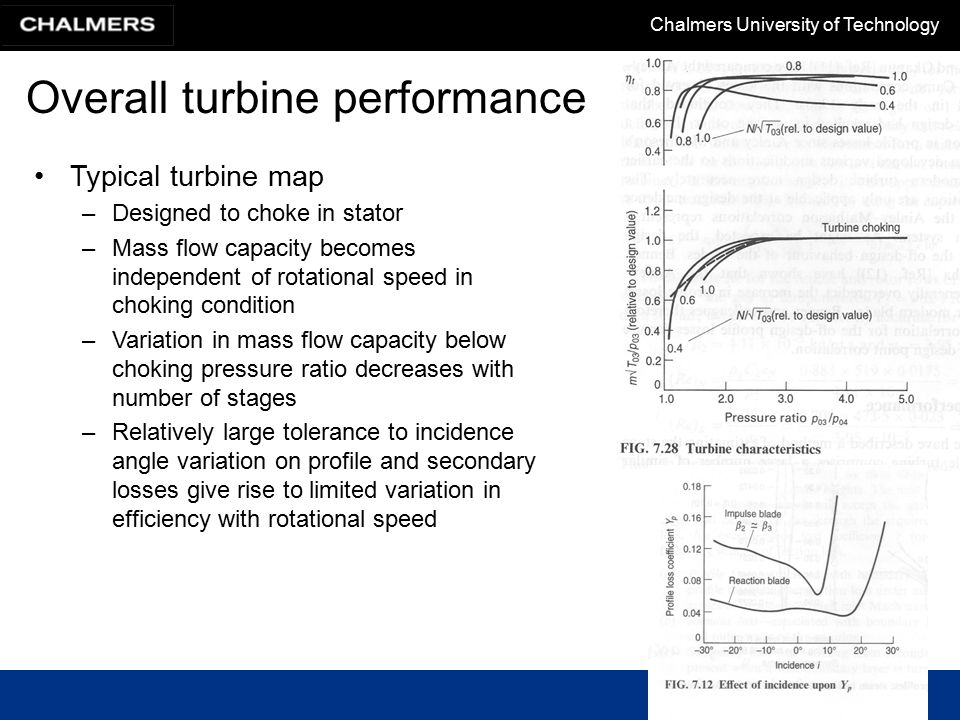 Chalmers University of Technology Overall turbine performance Typical turbine map –Designed to choke in stator –Mass flow capacity becomes independent