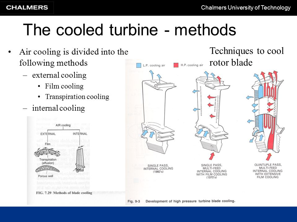 Chalmers University of Technology The cooled turbine - methods Techniques to cool stator blade Stator cooling –Jet impingement cools the hot leading edge surface of the blade.