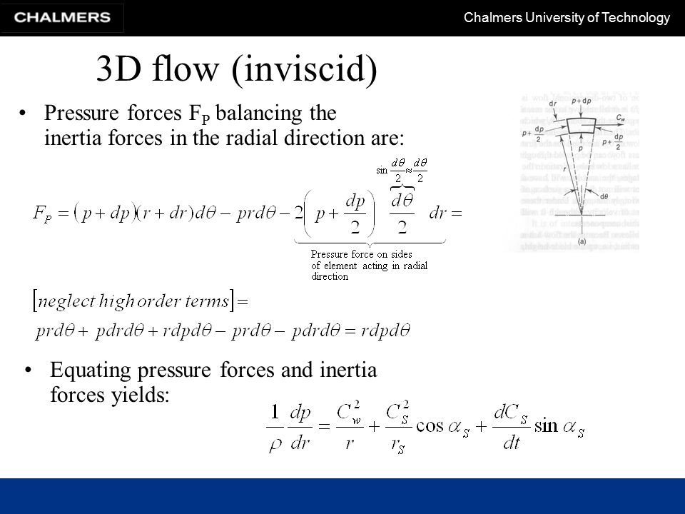 Chalmers University of Technology 3D flow The above equation will be used to derive an energy relation.