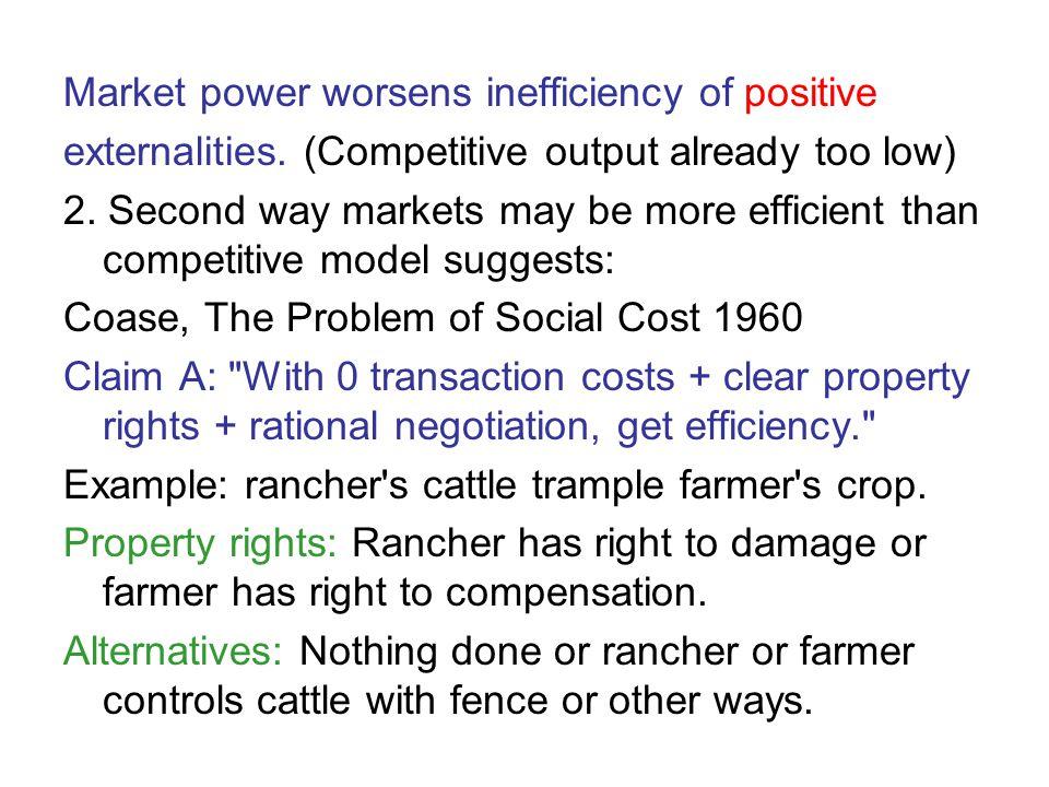 Market power worsens inefficiency of positive externalities.